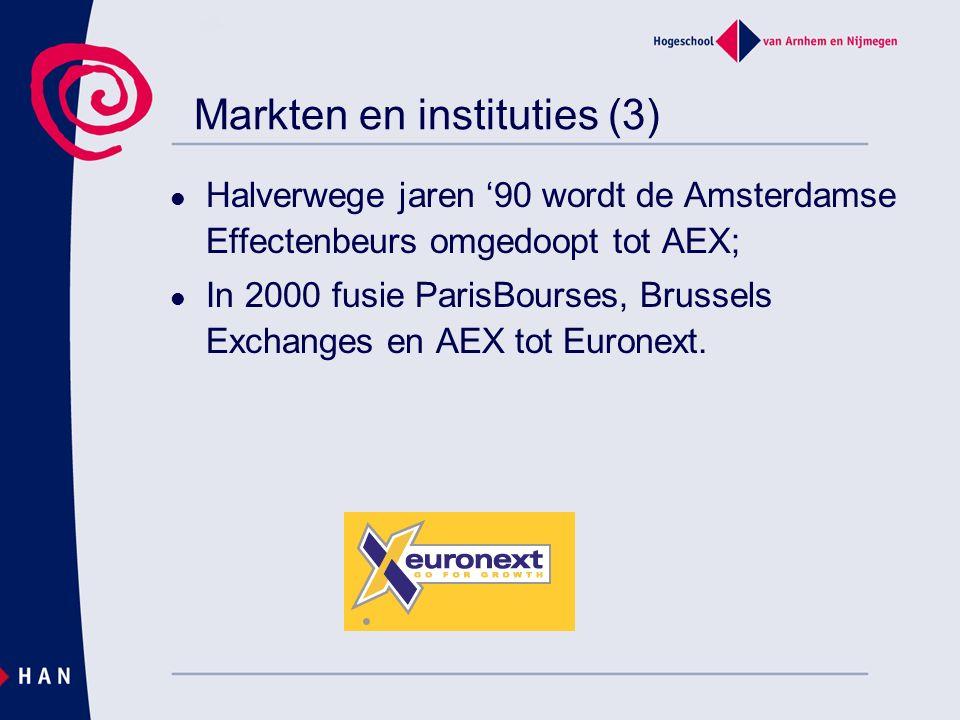 Markten en instituties (3) Halverwege jaren '90 wordt de Amsterdamse Effectenbeurs omgedoopt tot AEX; In 2000 fusie ParisBourses, Brussels Exchanges e