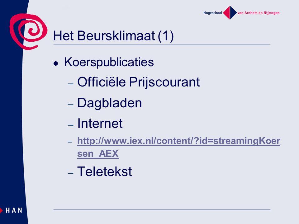 Het Beursklimaat (1) Koerspublicaties – Officiële Prijscourant – Dagbladen – Internet – http://www.iex.nl/content/ id=streamingKoer sen_AEX http://www.iex.nl/content/ id=streamingKoer sen_AEX – Teletekst