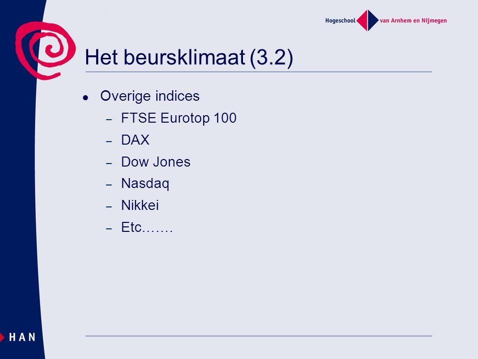 Het beursklimaat (3.2) Overige indices – FTSE Eurotop 100 – DAX – Dow Jones – Nasdaq – Nikkei – Etc…….