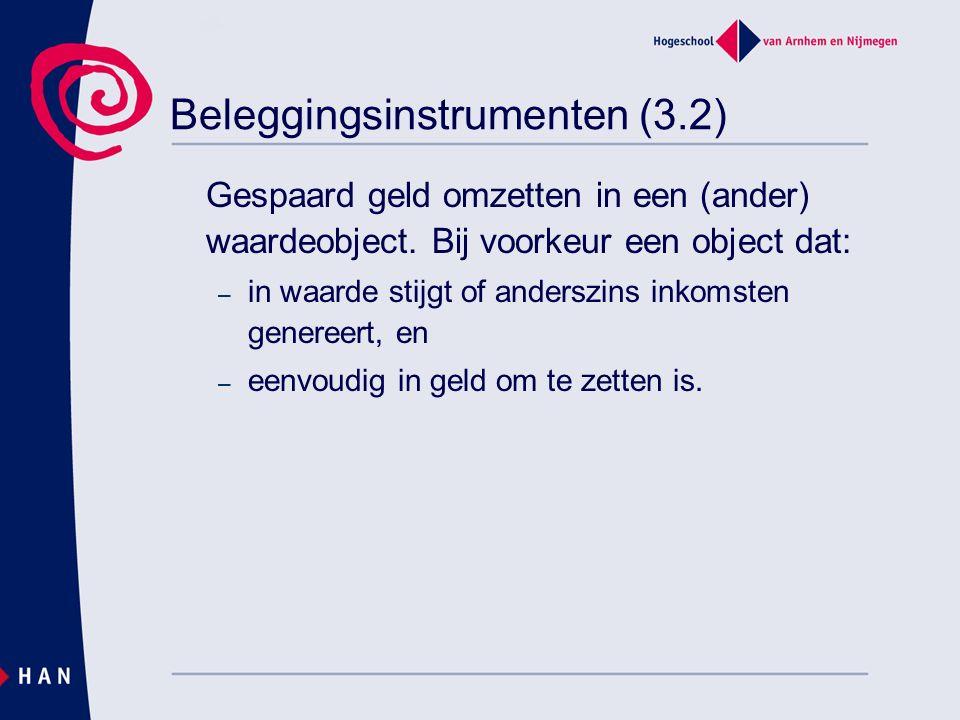 Beleggingsinstrumenten (3.2) Gespaard geld omzetten in een (ander) waardeobject.