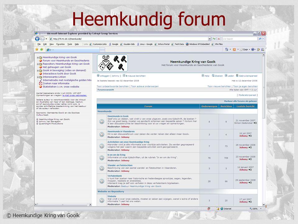 © Heemkundige Kring van Gooik Heemkundig forum