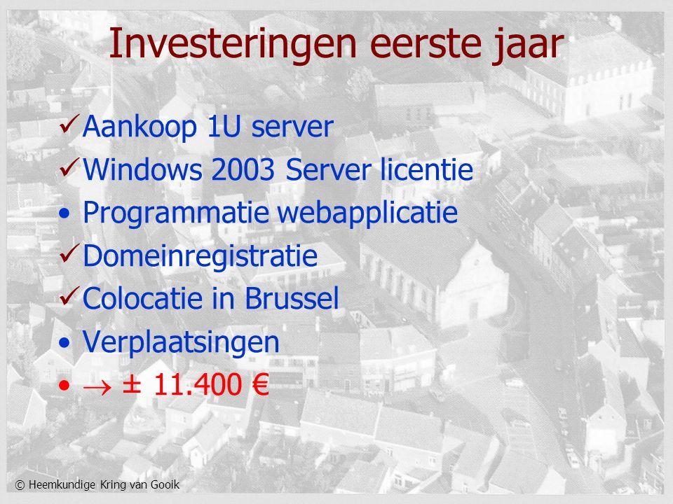 © Heemkundige Kring van Gooik Investeringen eerste jaar Aankoop 1U server Windows 2003 Server licentie Programmatie webapplicatie Domeinregistratie Co