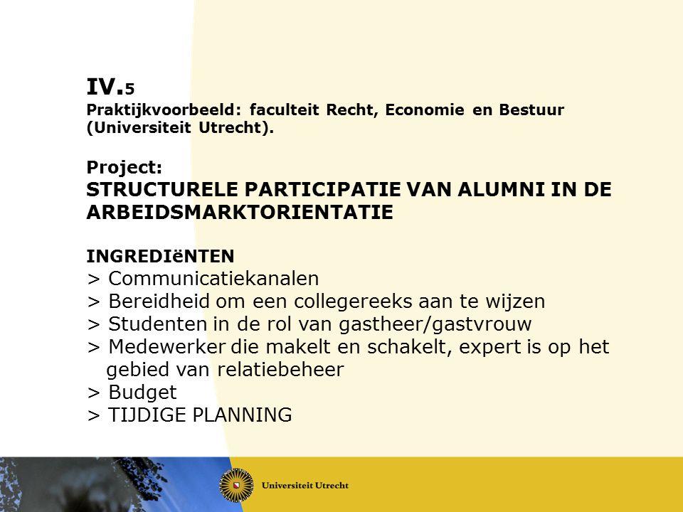 IV. 5 Praktijkvoorbeeld: faculteit Recht, Economie en Bestuur (Universiteit Utrecht). Project: STRUCTURELE PARTICIPATIE VAN ALUMNI IN DE ARBEIDSMARKTO