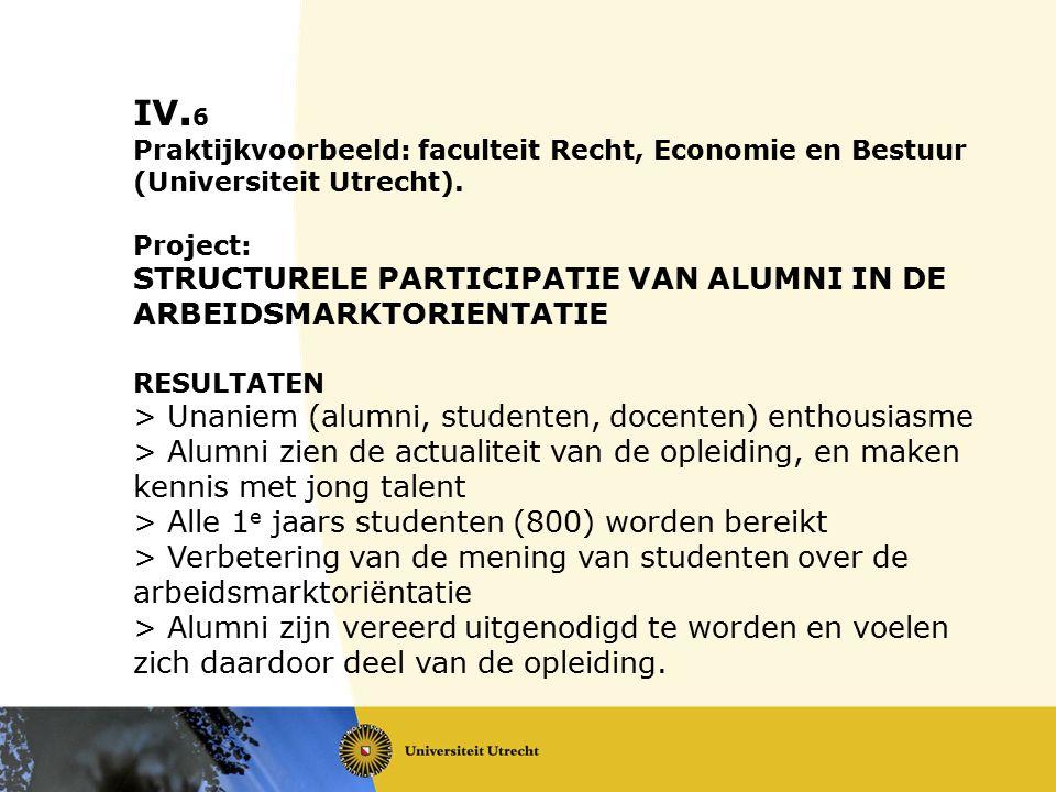 IV. 6 Praktijkvoorbeeld: faculteit Recht, Economie en Bestuur (Universiteit Utrecht). Project: STRUCTURELE PARTICIPATIE VAN ALUMNI IN DE ARBEIDSMARKTO
