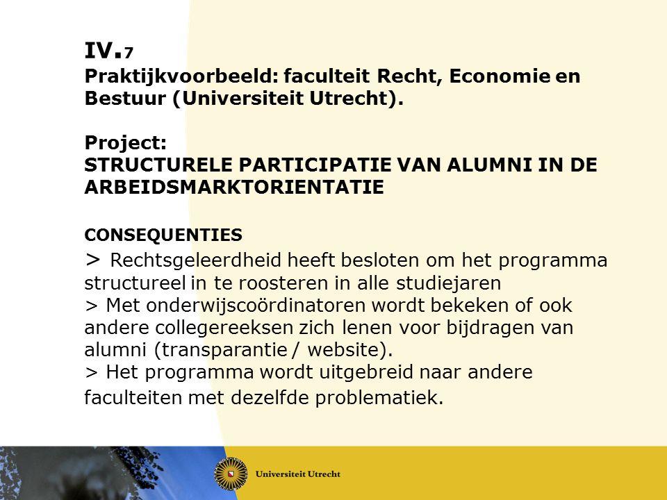 IV. 7 Praktijkvoorbeeld: faculteit Recht, Economie en Bestuur (Universiteit Utrecht). Project: STRUCTURELE PARTICIPATIE VAN ALUMNI IN DE ARBEIDSMARKTO