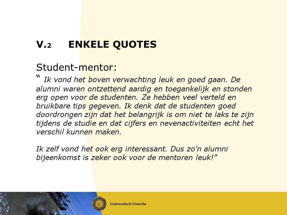 """V. 2 ENKELE QUOTES Student-mentor: """" Ik vond het boven verwachting leuk en goed gaan. De alumni waren ontzettend aardig en toegankelijk en stonden erg"""