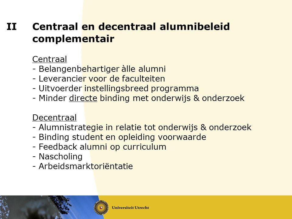 IICentraal en decentraal alumnibeleid complementair Centraal - Belangenbehartiger àlle alumni - Leverancier voor de faculteiten - Uitvoerder instellin