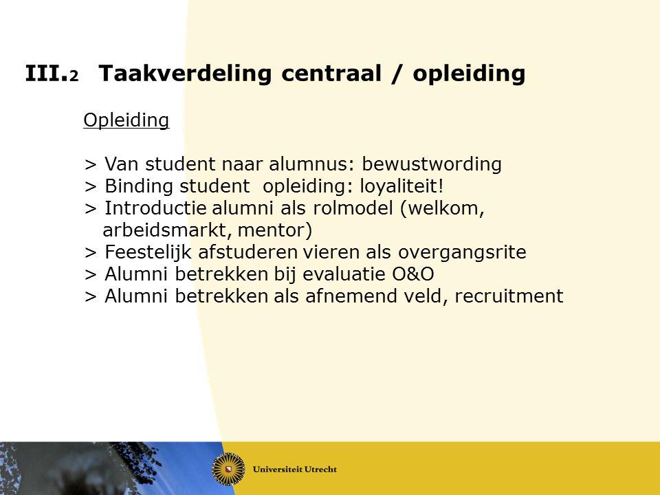 III. 2 Taakverdeling centraal / opleiding Opleiding > Van student naar alumnus: bewustwording > Binding student opleiding: loyaliteit! > Introductie a