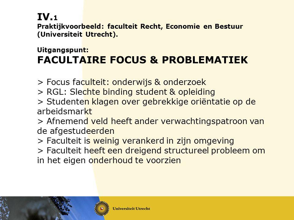 1. IV. 1 Praktijkvoorbeeld: faculteit Recht, Economie en Bestuur (Universiteit Utrecht). Uitgangspunt: FACULTAIRE FOCUS & PROBLEMATIEK > Focus faculte