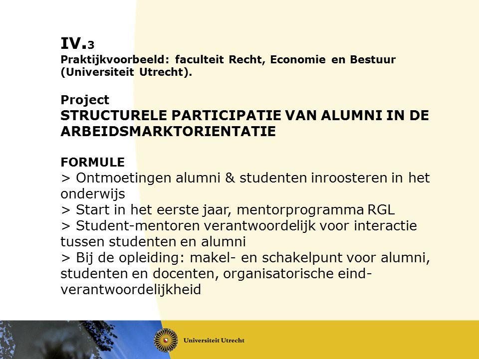 IV. 3 Praktijkvoorbeeld: faculteit Recht, Economie en Bestuur (Universiteit Utrecht). Project STRUCTURELE PARTICIPATIE VAN ALUMNI IN DE ARBEIDSMARKTOR