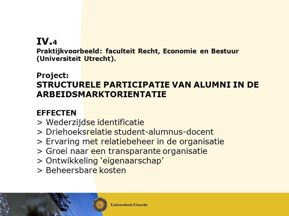 IV. 4 Praktijkvoorbeeld: faculteit Recht, Economie en Bestuur (Universiteit Utrecht). Project: STRUCTURELE PARTICIPATIE VAN ALUMNI IN DE ARBEIDSMARKTO