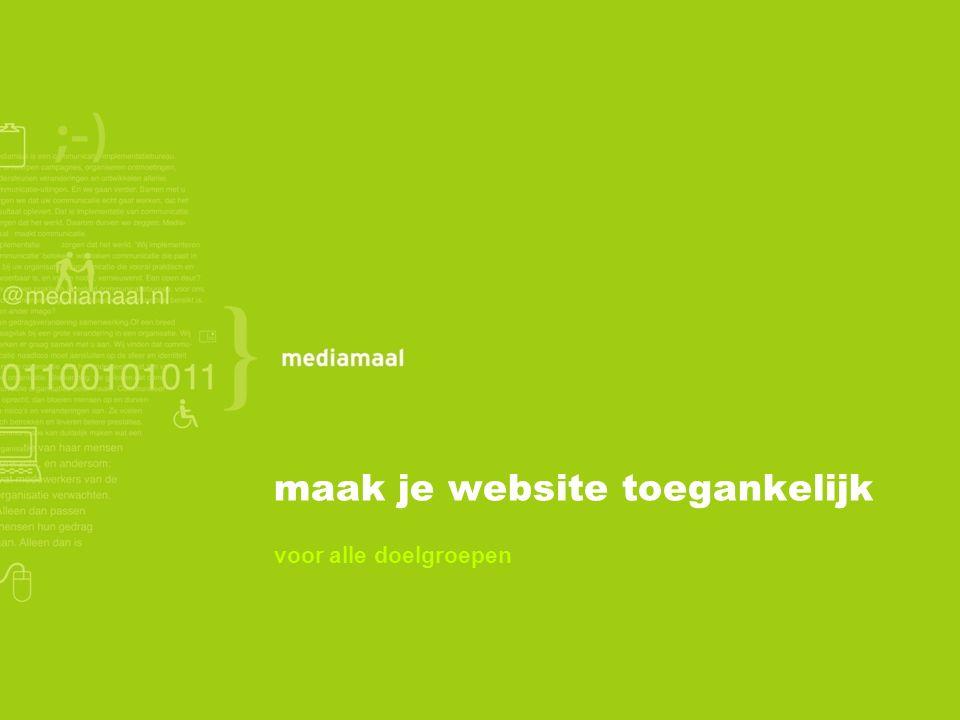 Vandaag Even voorstellen Waarom toegankelijkheid Doelgroepen Toegankelijke websites Voorbeelden Aandachtspunten Tools en checks Aan de slag!