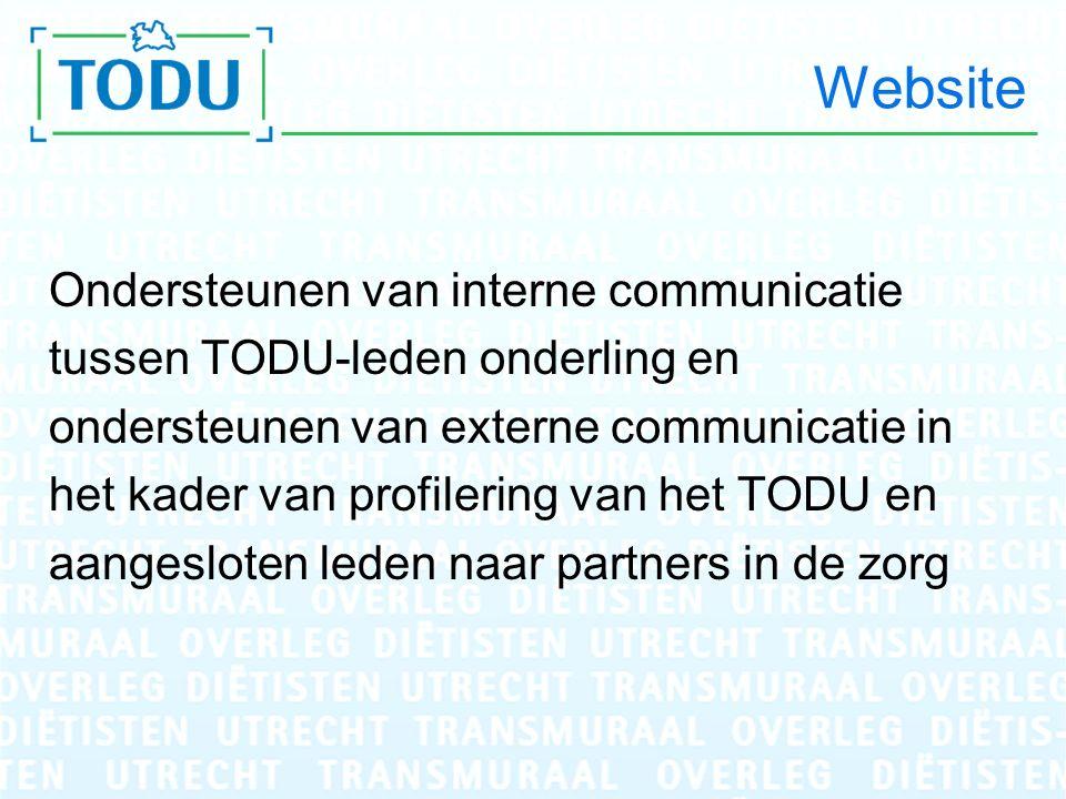 Website Ondersteunen van interne communicatie tussen TODU-leden onderling en ondersteunen van externe communicatie in het kader van profilering van het TODU en aangesloten leden naar partners in de zorg
