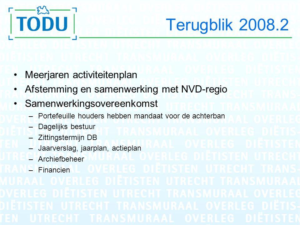 Terugblik 2008.2 Meerjaren activiteitenplan Afstemming en samenwerking met NVD-regio Samenwerkingsovereenkomst –Portefeuille houders hebben mandaat vo