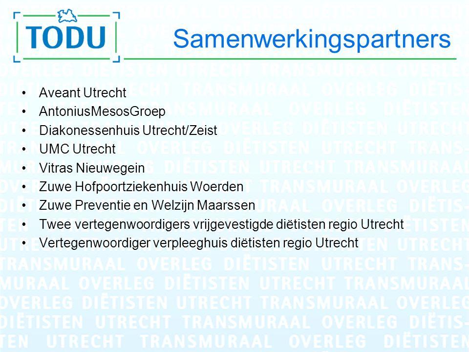 Samenwerkingspartners Aveant Utrecht AntoniusMesosGroep Diakonessenhuis Utrecht/Zeist UMC Utrecht Vitras Nieuwegein Zuwe Hofpoortziekenhuis Woerden Zu