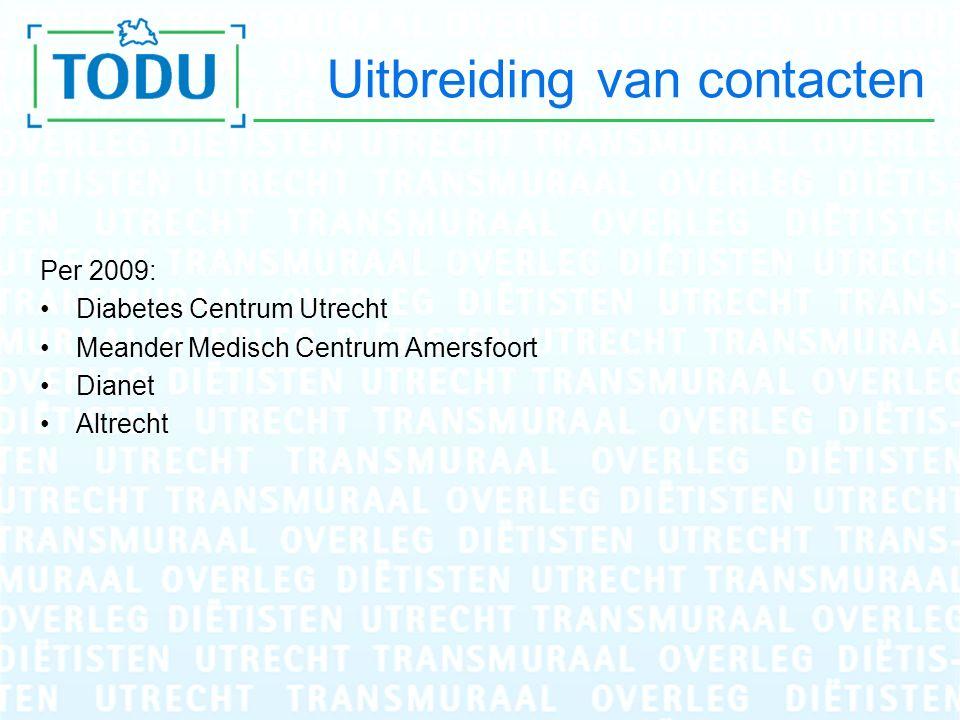 Uitbreiding van contacten Per 2009: Diabetes Centrum Utrecht Meander Medisch Centrum Amersfoort Dianet Altrecht