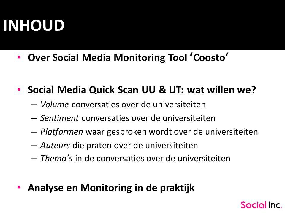 VOLUME UT Trendrapport computer- en internetgebruik 2010 Universiteit Twente: 3.655 conversaties Universiteit Utrecht: 6.499 conversaties