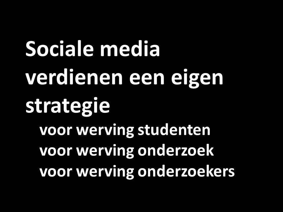 Sociale media verdienen een eigen strategie voor werving studenten voor werving onderzoek voor werving onderzoekers