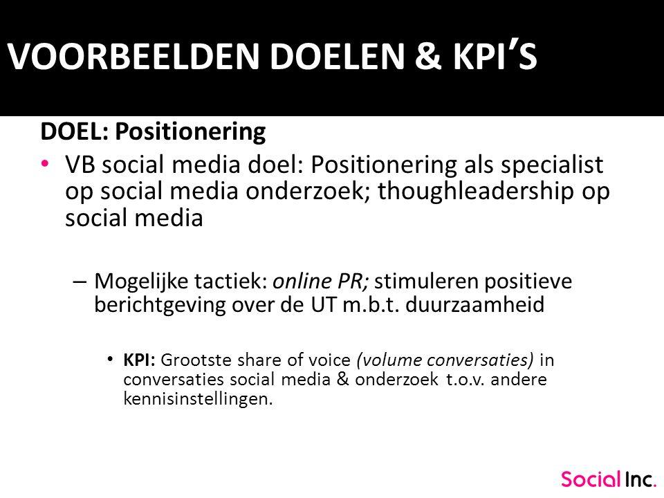 VOORBEELDEN DOELEN & KPI'S DOEL: Positionering VB social media doel: Positionering als specialist op social media onderzoek; thoughleadership op socia