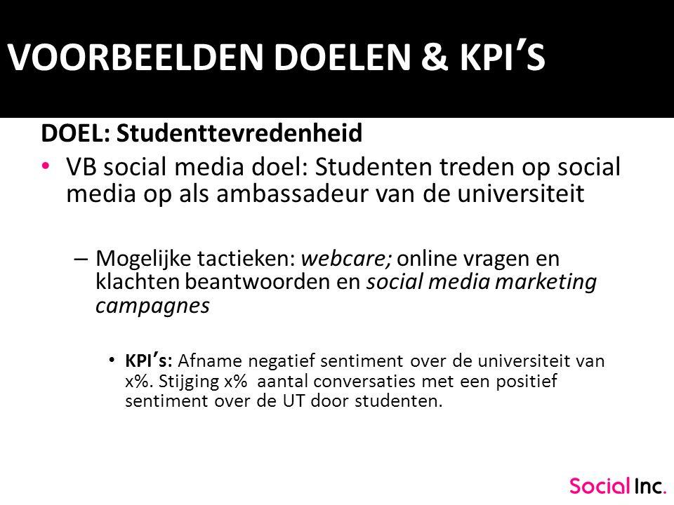 VOORBEELDEN DOELEN & KPI'S DOEL: Studenttevredenheid VB social media doel: Studenten treden op social media op als ambassadeur van de universiteit – M