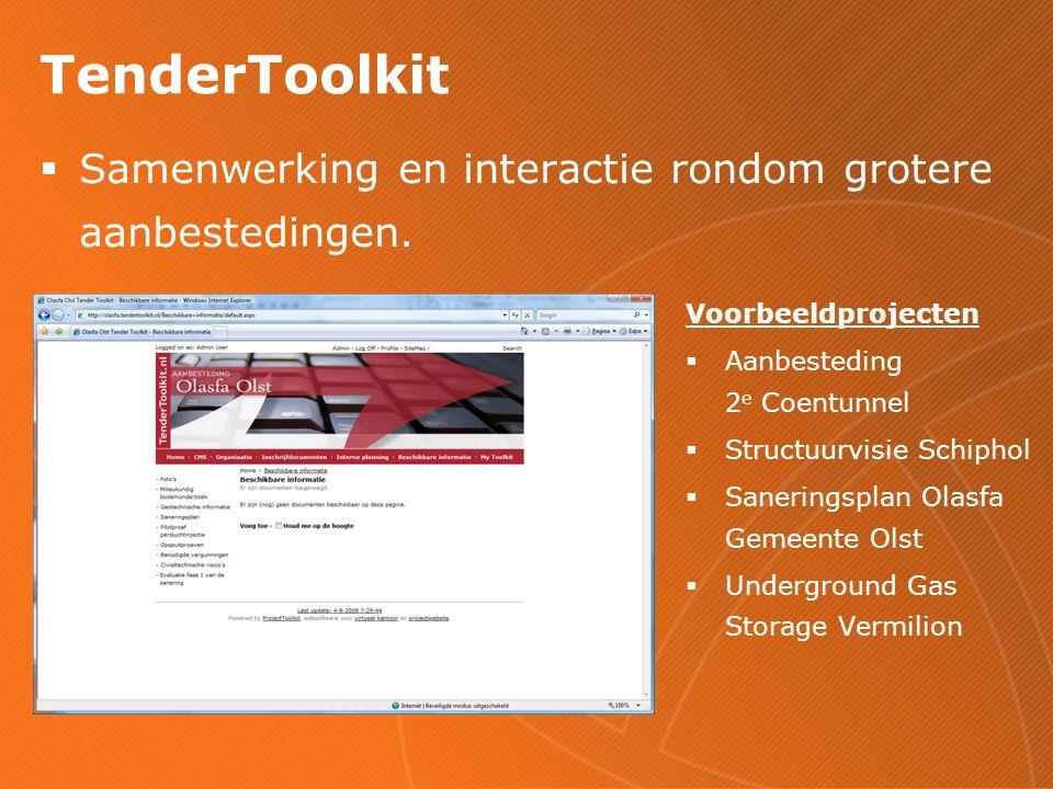 TenderToolkit  Samenwerking en interactie rondom grotere aanbestedingen.