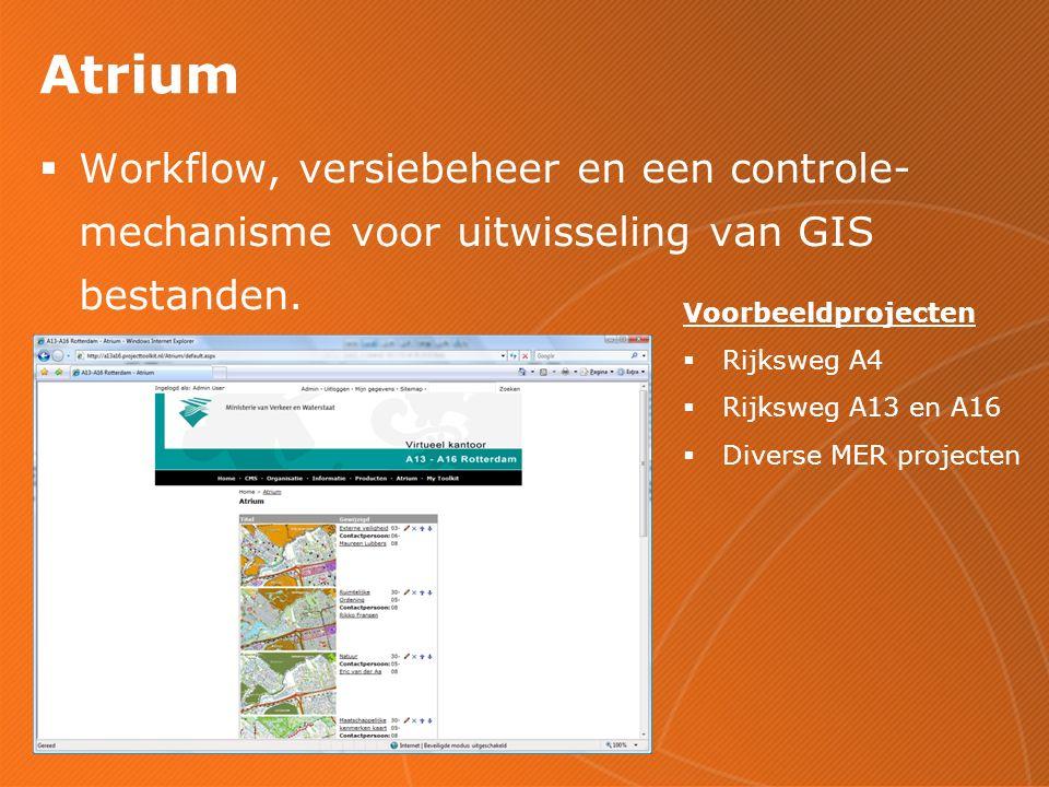 Atrium  Workflow, versiebeheer en een controle- mechanisme voor uitwisseling van GIS bestanden.