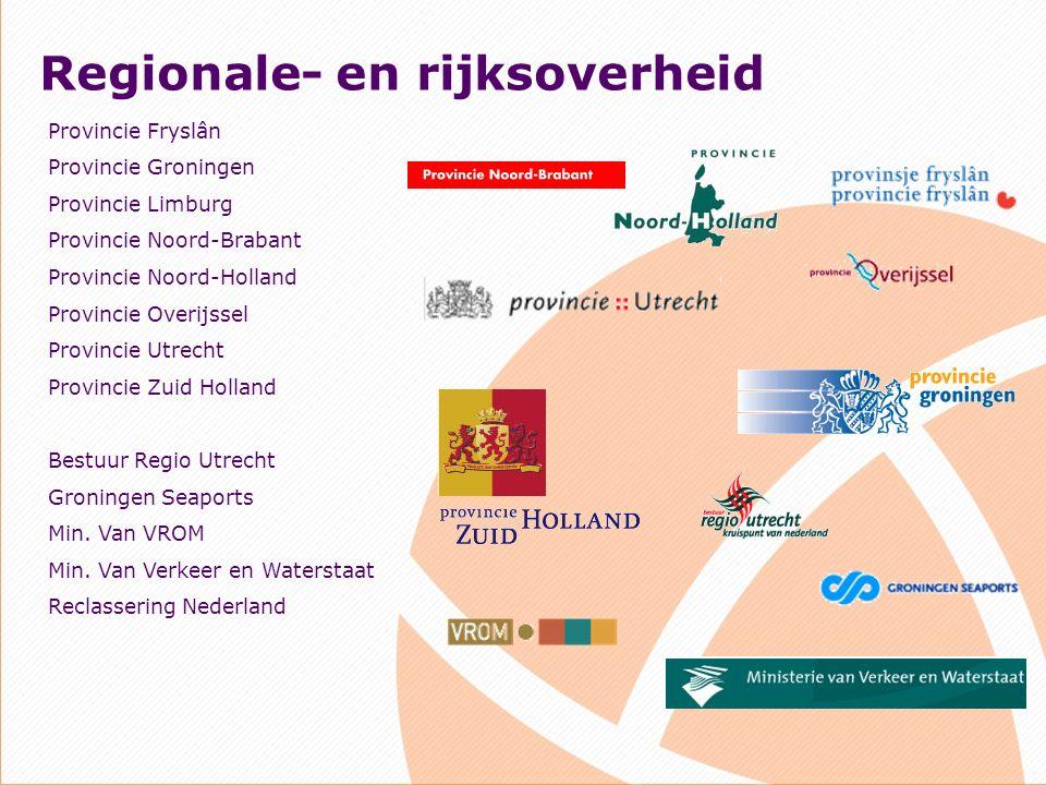 Regionale- en rijksoverheid Provincie Fryslân Provincie Groningen Provincie Limburg Provincie Noord-Brabant Provincie Noord-Holland Provincie Overijssel Provincie Utrecht Provincie Zuid Holland Bestuur Regio Utrecht Groningen Seaports Min.