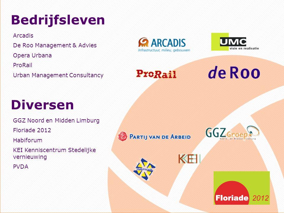 Bedrijfsleven Arcadis De Roo Management & Advies Opera Urbana ProRail Urban Management Consultancy Diversen GGZ Noord en Midden Limburg Floriade 2012 Habiforum KEI Kenniscentrum Stedelijke vernieuwing PVDA