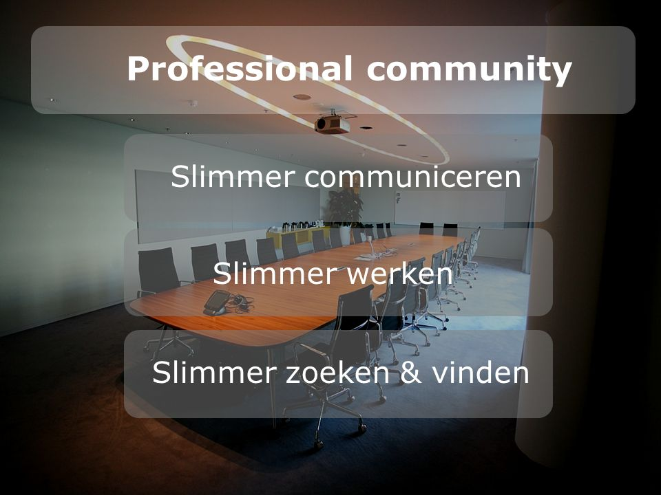 Professional community Slimmer werken Slimmer zoeken & vinden Slimmer communiceren