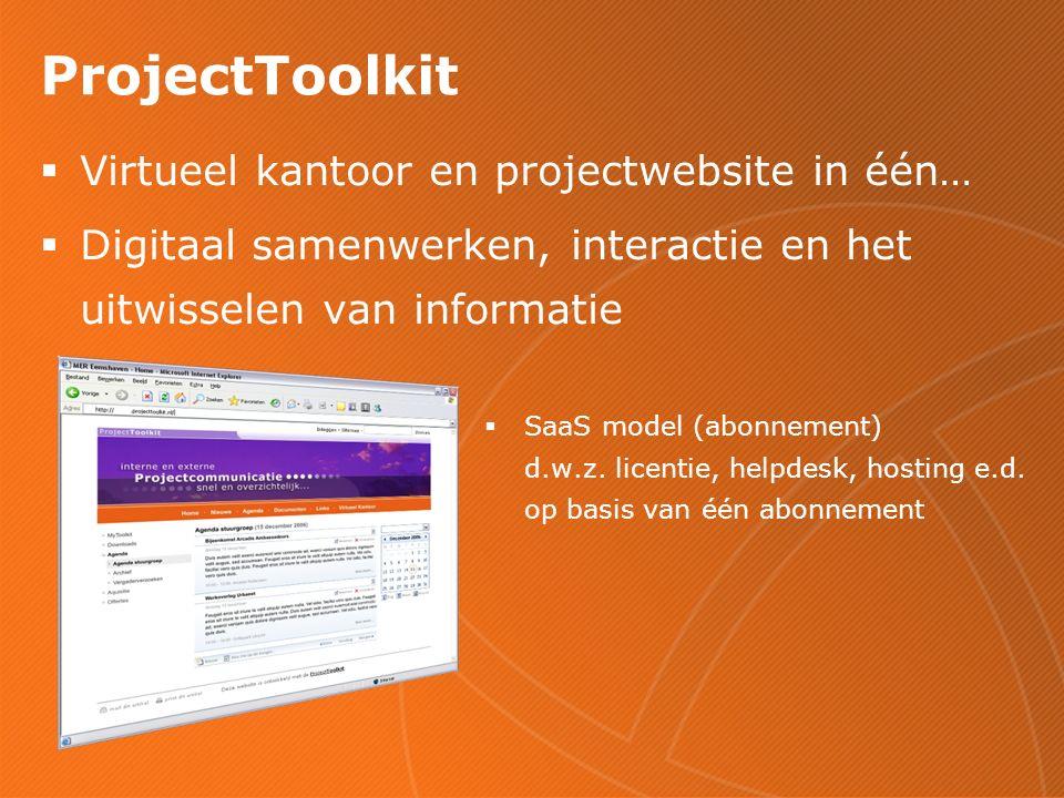 ProjectToolkit  Virtueel kantoor en projectwebsite in één…  Digitaal samenwerken, interactie en het uitwisselen van informatie  SaaS model (abonnement) d.w.z.