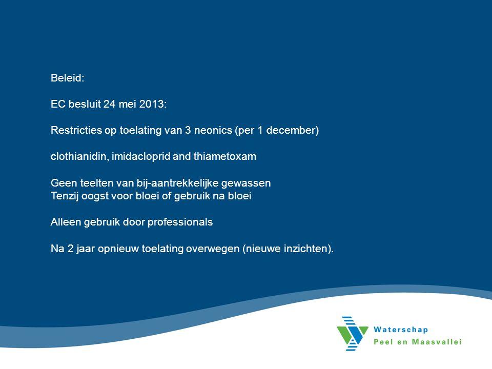 Beleid: EC besluit 24 mei 2013: Restricties op toelating van 3 neonics (per 1 december) clothianidin, imidacloprid and thiametoxam Geen teelten van bi