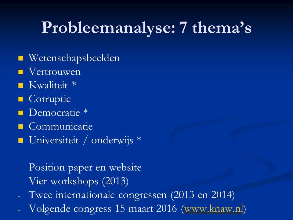 Probleemanalyse: 7 thema's Wetenschapsbeelden Vertrouwen Kwaliteit * Corruptie Democratie * Communicatie Universiteit / onderwijs * - - Position paper en website - - Vier workshops (2013) - - Twee internationale congressen (2013 en 2014) - - Volgende congress 15 maart 2016 (www.knaw.nl)www.knaw.nl