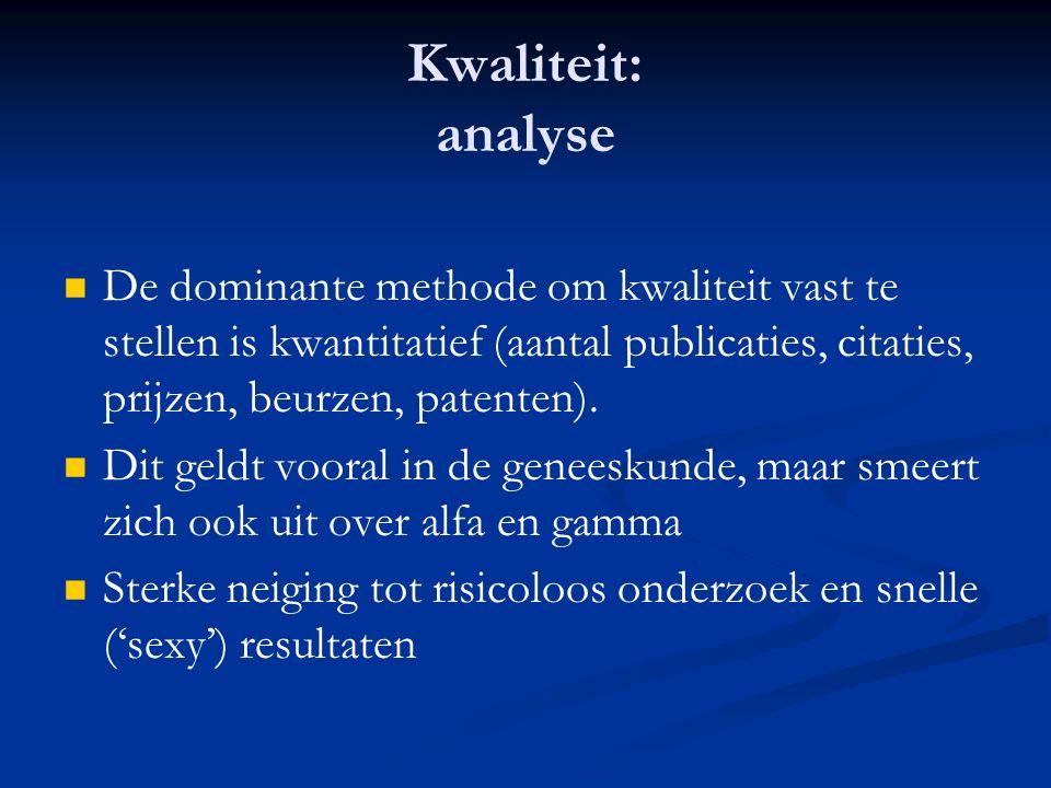 Kwaliteit: analyse De dominante methode om kwaliteit vast te stellen is kwantitatief (aantal publicaties, citaties, prijzen, beurzen, patenten).