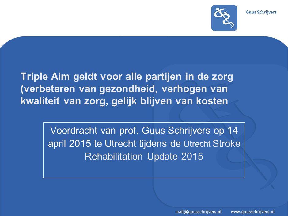 Triple Aim geldt voor alle partijen in de zorg (verbeteren van gezondheid, verhogen van kwaliteit van zorg, gelijk blijven van kosten Voordracht van prof.