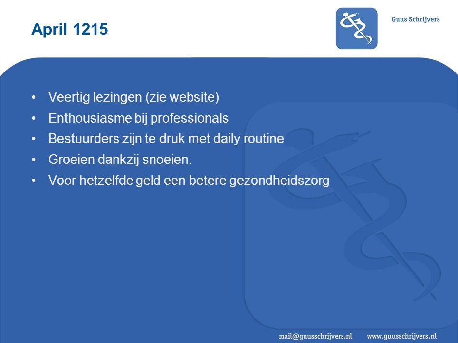 April 1215 Veertig lezingen (zie website) Enthousiasme bij professionals Bestuurders zijn te druk met daily routine Groeien dankzij snoeien.