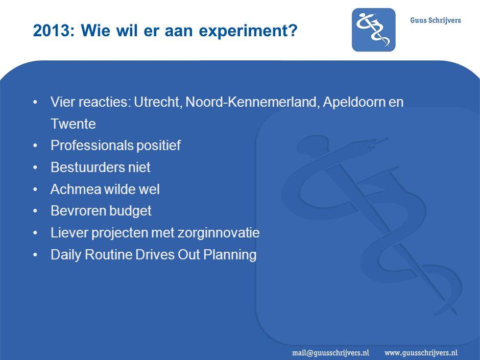 2013: Wie wil er aan experiment.