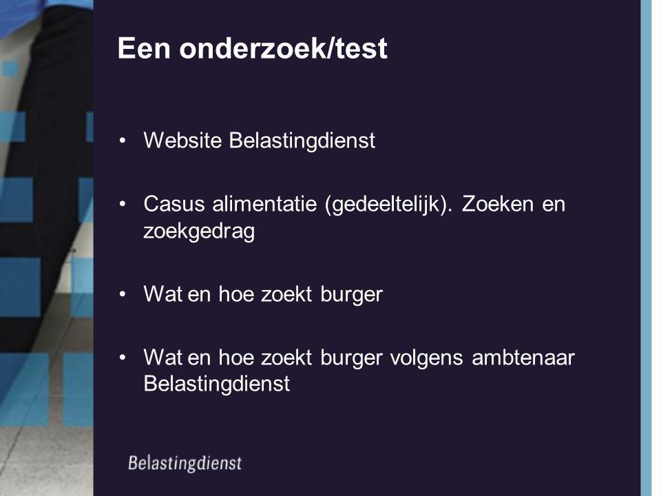 Een onderzoek/test Website Belastingdienst Casus alimentatie (gedeeltelijk).
