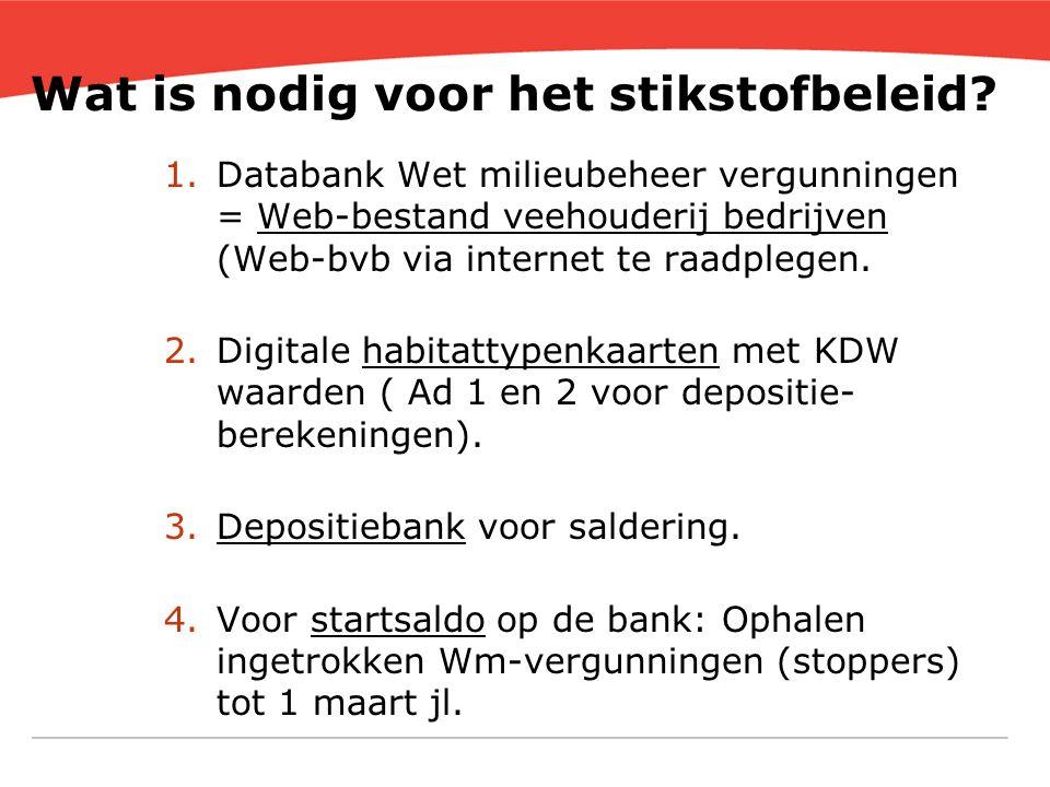 Wat is nodig voor het stikstofbeleid? 1.Databank Wet milieubeheer vergunningen = Web-bestand veehouderij bedrijven (Web-bvb via internet te raadplegen