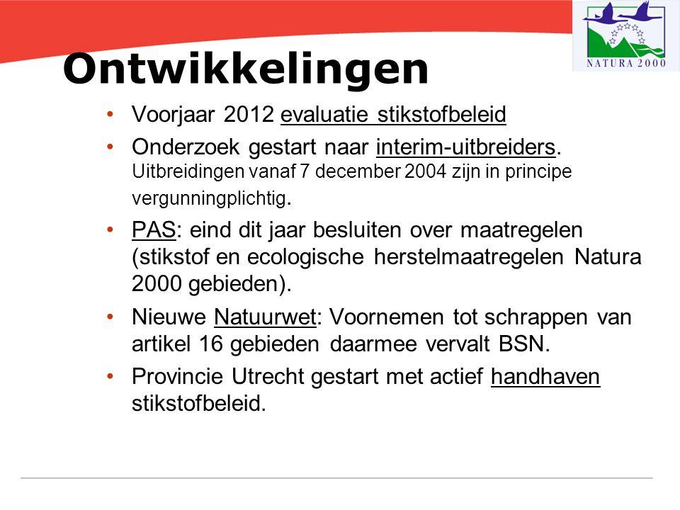Ontwikkelingen Voorjaar 2012 evaluatie stikstofbeleid Onderzoek gestart naar interim-uitbreiders. Uitbreidingen vanaf 7 december 2004 zijn in principe