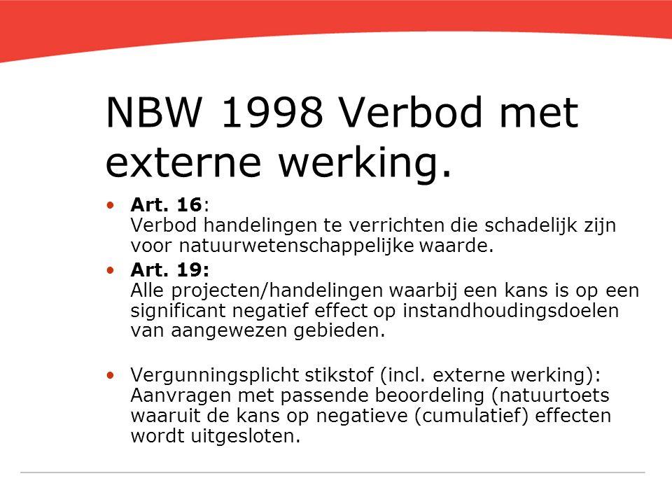 NBW 1998 Verbod met externe werking. Art. 16: Verbod handelingen te verrichten die schadelijk zijn voor natuurwetenschappelijke waarde. Art. 19: Alle