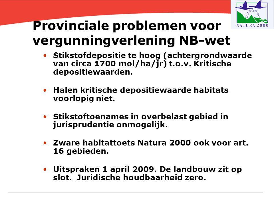 Provinciale problemen voor vergunningverlening NB-wet Stikstofdepositie te hoog (achtergrondwaarde van circa 1700 mol/ha/jr) t.o.v. Kritische depositi