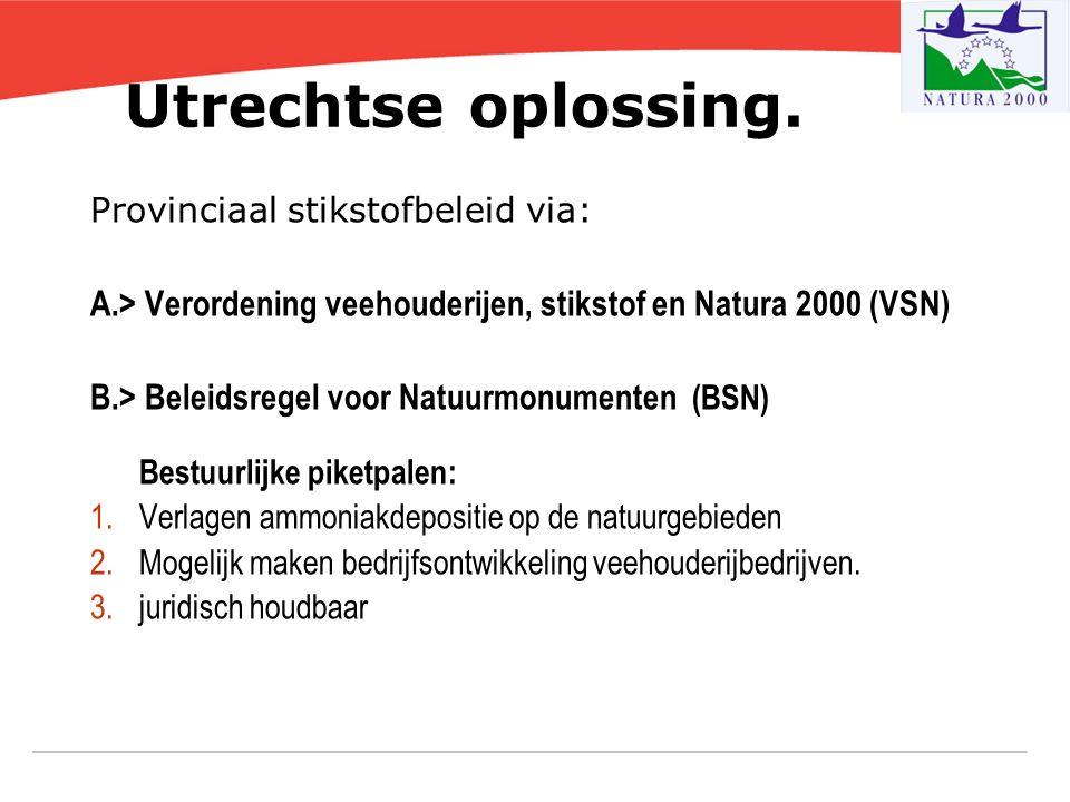 Utrechtse oplossing. Provinciaal stikstofbeleid via: A.> Verordening veehouderijen, stikstof en Natura 2000 (VSN) B.> Beleidsregel voor Natuurmonument