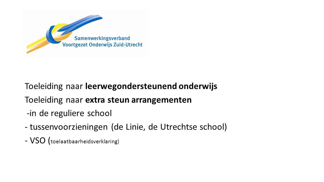 Toeleiding naar leerwegondersteunend onderwijs Toeleiding naar extra steun arrangementen -in de reguliere school - tussenvoorzieningen (de Linie, de Utrechtse school) - VSO ( toelaatbaarheidsverklaring)