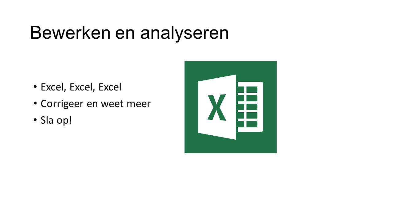 Bewerken en analyseren Excel, Excel, Excel Corrigeer en weet meer Sla op!