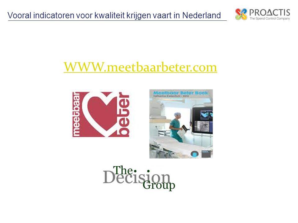 Vooral indicatoren voor kwaliteit krijgen vaart in Nederland WWW.meetbaarbeter.com
