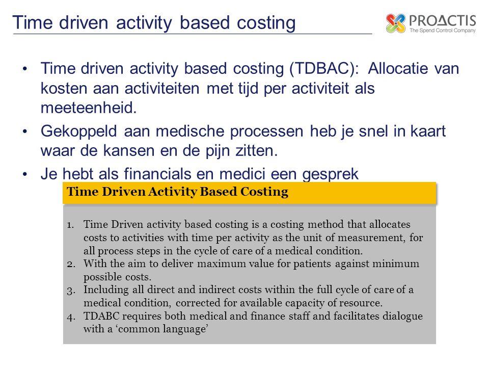 Time driven activity based costing (TDBAC): Allocatie van kosten aan activiteiten met tijd per activiteit als meeteenheid. Gekoppeld aan medische proc