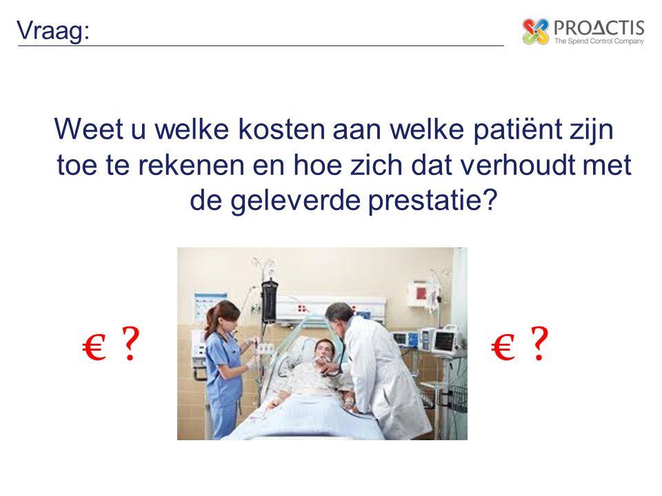 Weet u welke kosten aan welke patiënt zijn toe te rekenen en hoe zich dat verhoudt met de geleverde prestatie? Vraag: € ?
