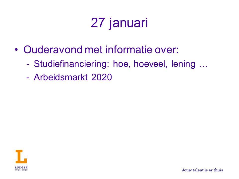 27 januari Ouderavond met informatie over: -Studiefinanciering: hoe, hoeveel, lening … -Arbeidsmarkt 2020