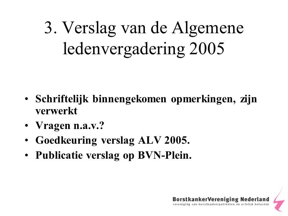 3. Verslag van de Algemene ledenvergadering 2005 Schriftelijk binnengekomen opmerkingen, zijn verwerkt Vragen n.a.v.? Goedkeuring verslag ALV 2005. Pu