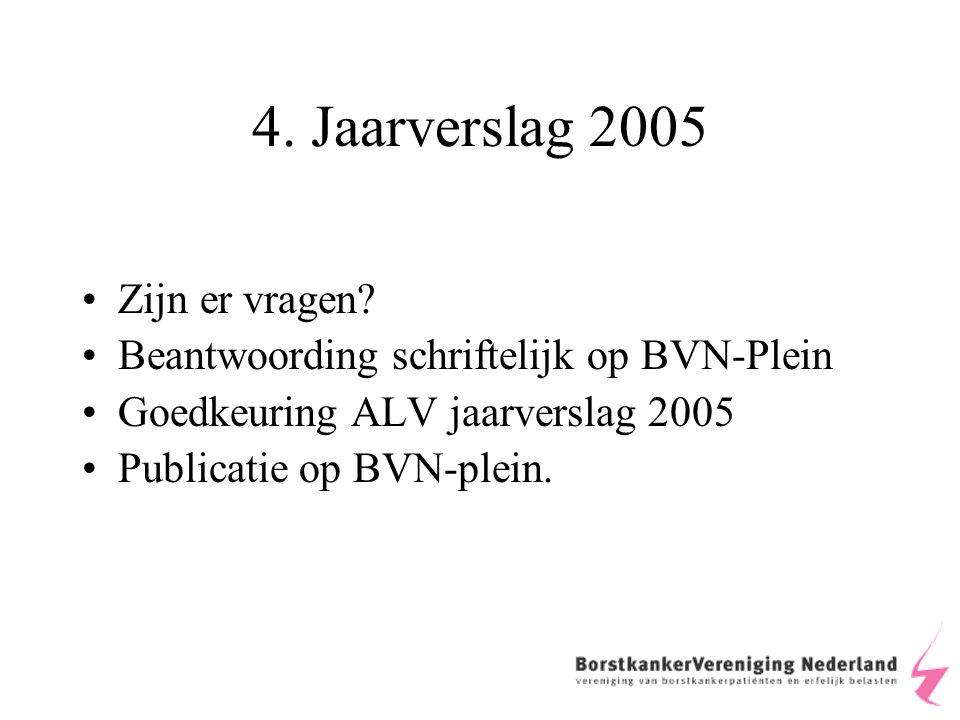 4. Jaarverslag 2005 Zijn er vragen.
